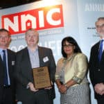 (L-R)  Max Halliwell, Ecodan product marketing manager; Martin Fahey, sustainable solutions manager; Baroness Verma; and David Carver, chairman of NHIC at the Awards